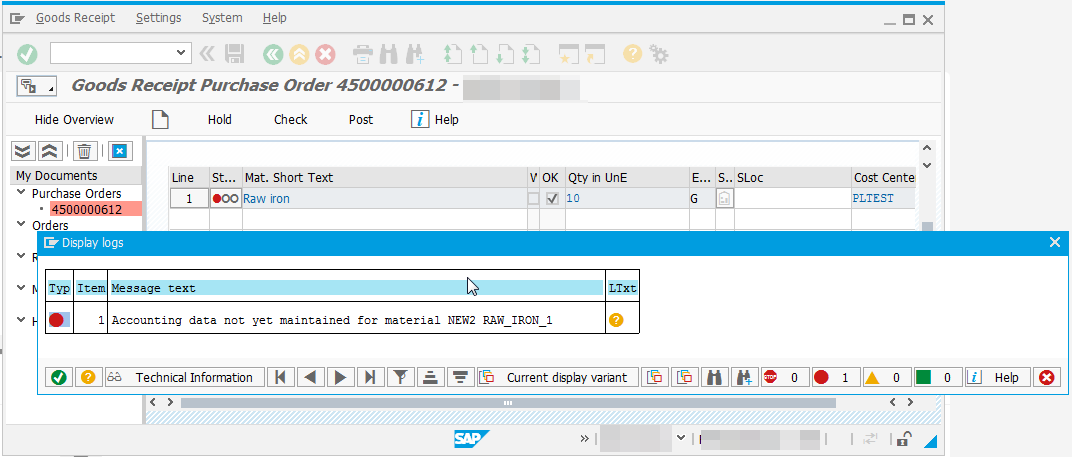 SAP accounting data not yet maintained - [New Simple As