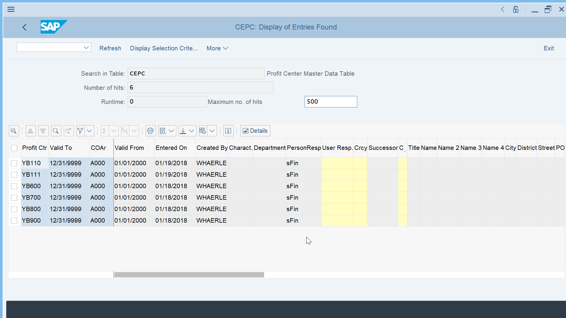 SAP S/4HANA profit center table CEPC - [New Simple As Possible ERP]
