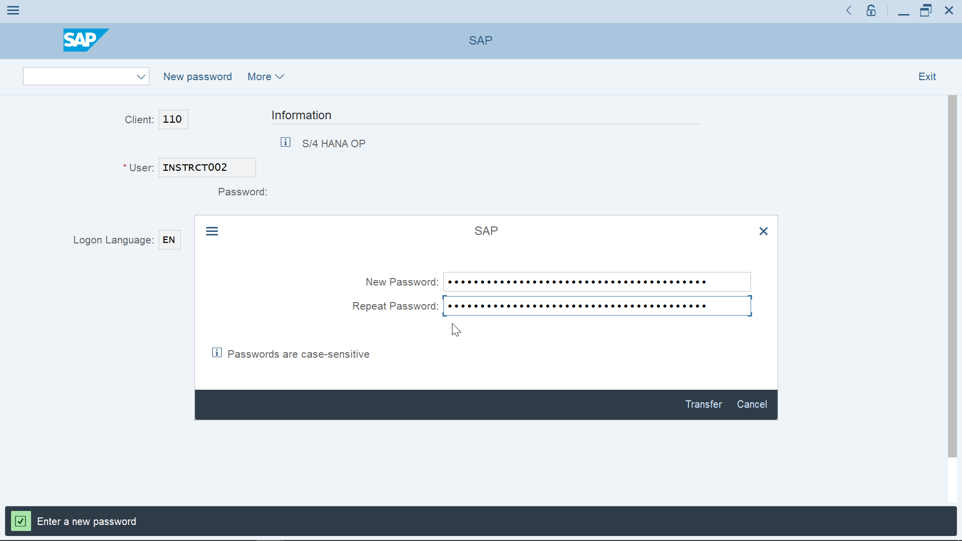 How to change password in SAP? - [New Simple As Possible ERP]