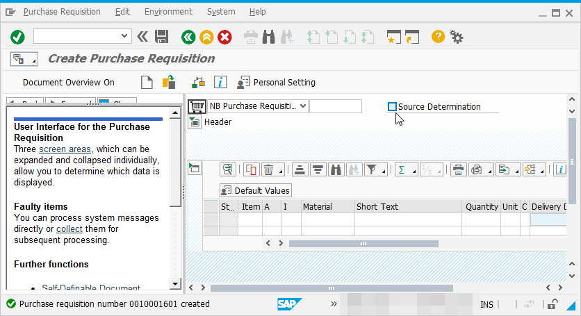 How to create purchase requisition in SAP using ME51N - [New